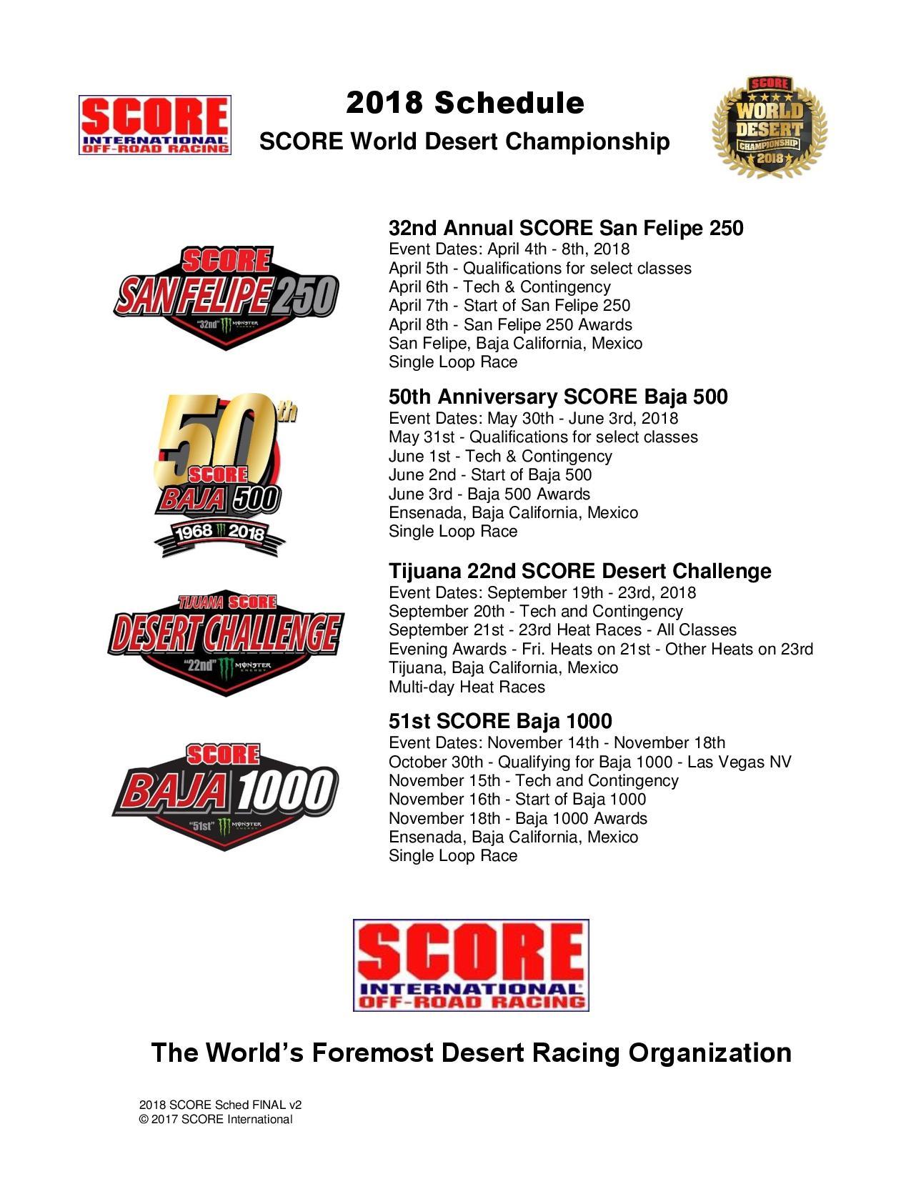 SCORE World Desert Championship 2018 Schedule